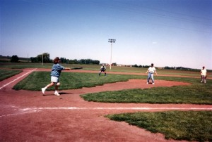 That's me pitching on the Field of Dreams.